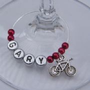Bicycle Personalised Wine Glass Charm
